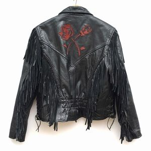 Vintage Leather Rose Motorcycle Moto Jacket